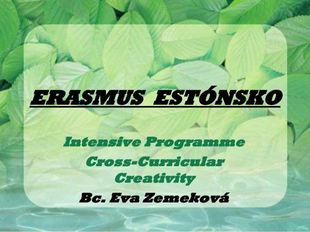 ERASMUS ESTÓNSKO  Intensive Programme     Cross-Curricular        Creativity    Bc. Eva Zemeková