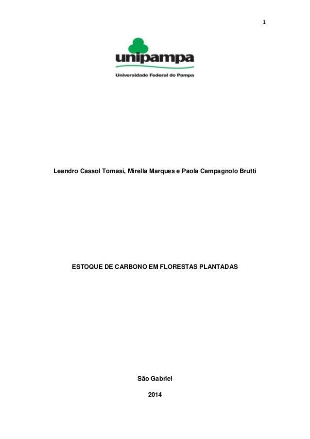 1 Leandro Cassol Tomasi, Mirella Marques e Paola Campagnolo Brutti ESTOQUE DE CARBONO EM FLORESTAS PLANTADAS São Gabriel 2...