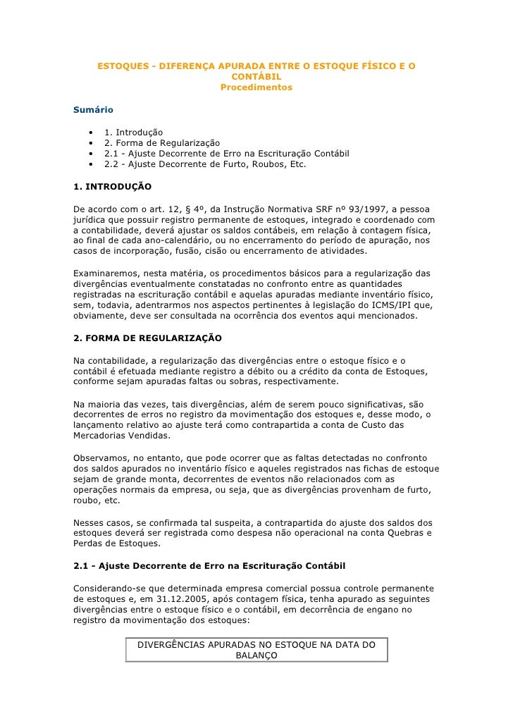 ESTOQUES - DIFERENÇA APURADA ENTRE O ESTOQUE FÍSICO E O                               CONTÁBIL                            ...