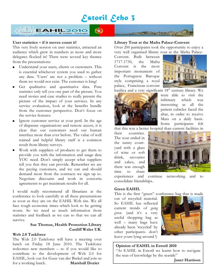 Estoril Echo 3  User statistics – if it moves count it!                     Library Tour at the Mafra Palace-Convent This ...