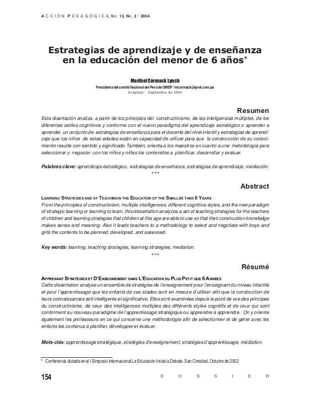 D O S S I E R154 A C C I Ó N P E D A G Ó G I C A, Vol. 13, No. 2 / 2004 Estrategias de aprendizaje y de enseñanza en la ed...