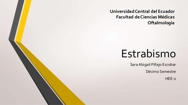 Estrabismo Sara Abigail Pillajo Escobar Décimo Semestre HEE-2 Universidad Central del Ecuador Facultad de Ciencias Médicas...
