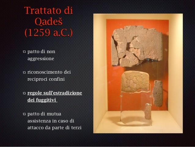 Trattato di Qadeš (1259 a.C.) patto di non aggressione riconoscimento dei reciproci confini regole sull'estradizione dei f...