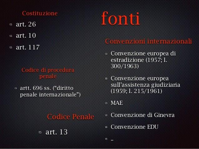 """fonti Costituzione art. 26 art. 10 art. 117 Codice di procedura penale artt. 696 ss. (""""diritto penale internazionale"""") Con..."""