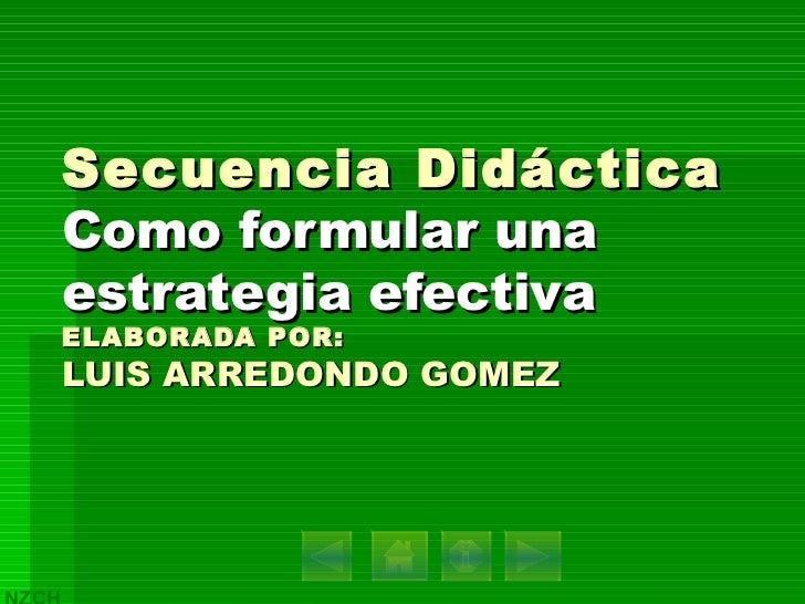 Secuencia Didáctica Como formular una estrategia efectiva ELABORADA POR: LUIS ARREDONDO GOMEZ