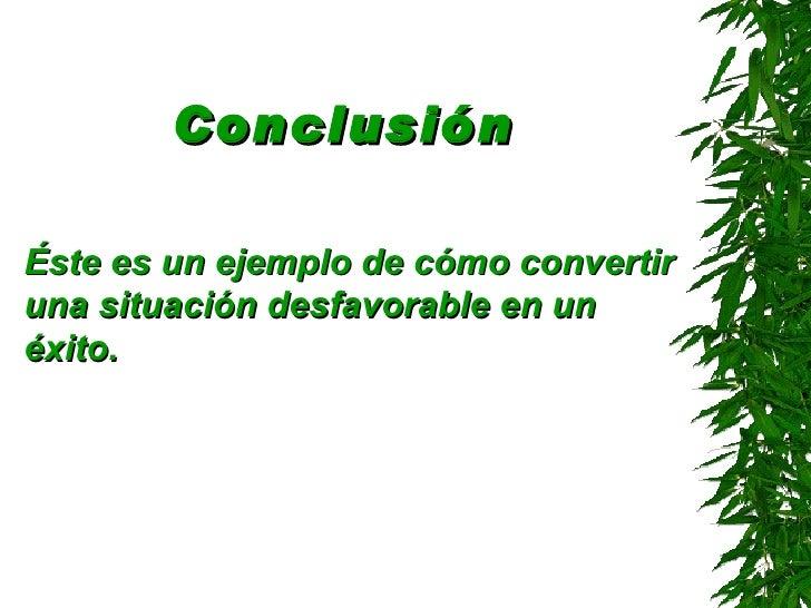 Conclusión   <ul><li>Éste es un ejemplo de cómo convertir una situación desfavorable en un éxito . </li></ul>