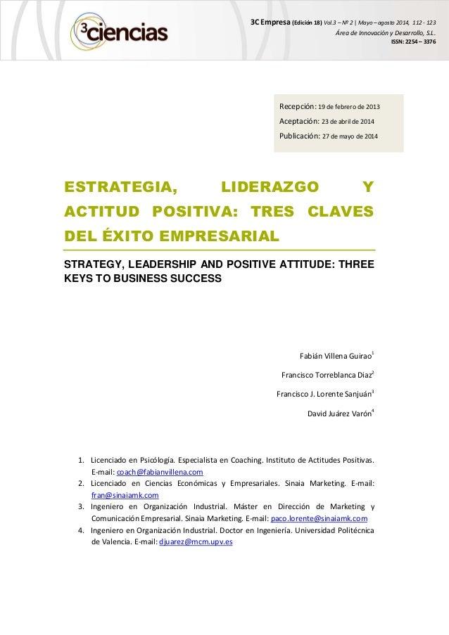 3C Empresa (Edición 18) Vol.3 – Nº 2 | Mayo – agosto 2014, 112 - 123 Área de Innovación y Desarrollo, S.L. ISSN: 2254 – 33...