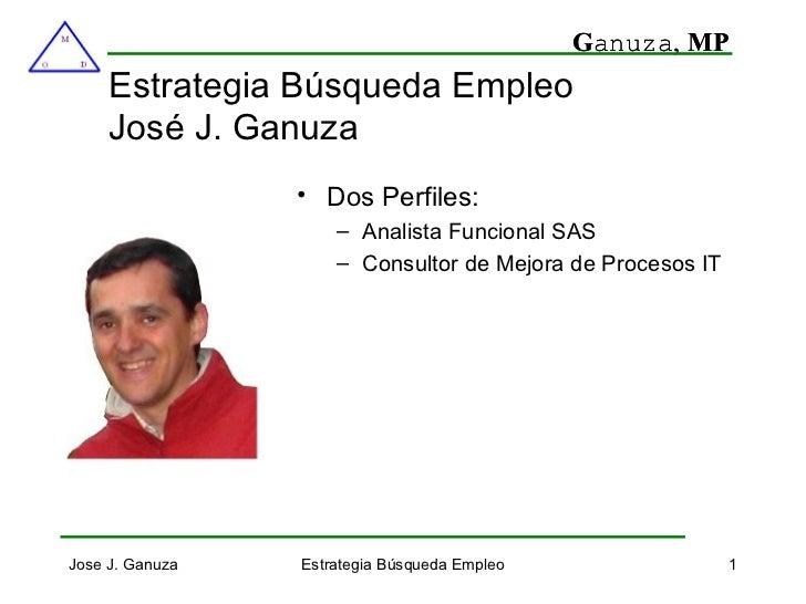 Estrategia Búsqueda Empleo José J. Ganuza <ul><li>Dos Perfiles: </li></ul><ul><ul><li>Analista Funcional SAS </li></ul></u...