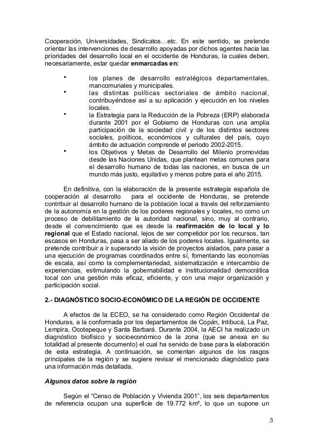 Estrategia de la cooperacion española en el Occidente de Honduras 11 …