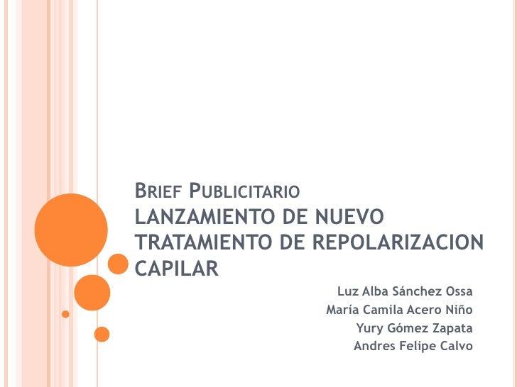 Brief Publicitario LANZAMIENTO DE NUEVO TRATAMIENTO DE REPOLARIZACION CAPILAR<br />Luz Alba Sánchez Ossa<br />María Camila...