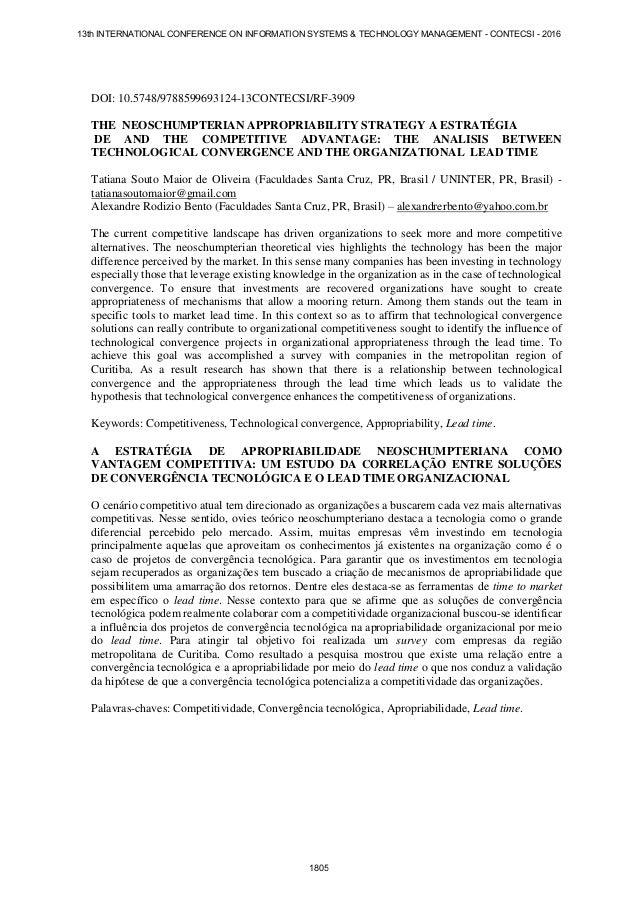 DOI: 10.5748/9788599693124-13CONTECSI/RF-3909 THE NEOSCHUMPTERIAN APPROPRIABILITY STRATEGY A ESTRATÉGIA DE AND THE COMPETI...
