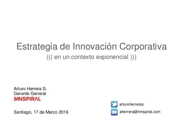 Arturo Herrera S. Gerente General Santiago, 17 de Marzo 2016 arturoherreras aherrera@innspiral.com Estrategia de Innovació...