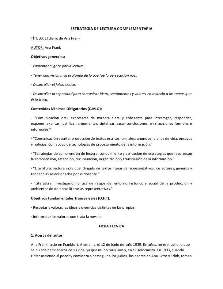 Estrategia De Lectura Complementaria Diario Ana Frank