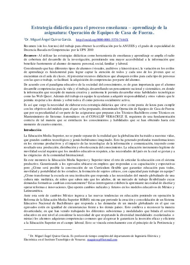 Estrategia didáctica para el proceso enseñanza – aprendizaje de la asignatura: Operación de Equipos de Casa de Fuerza. 1 D...
