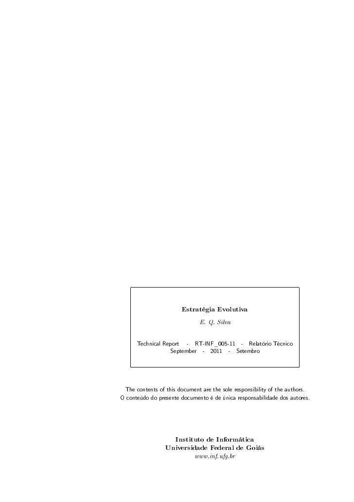 Estratégia Evolutiva                               E. Q. Silva      Technical Report    -   RT-INF_005-11     -   Relatóri...