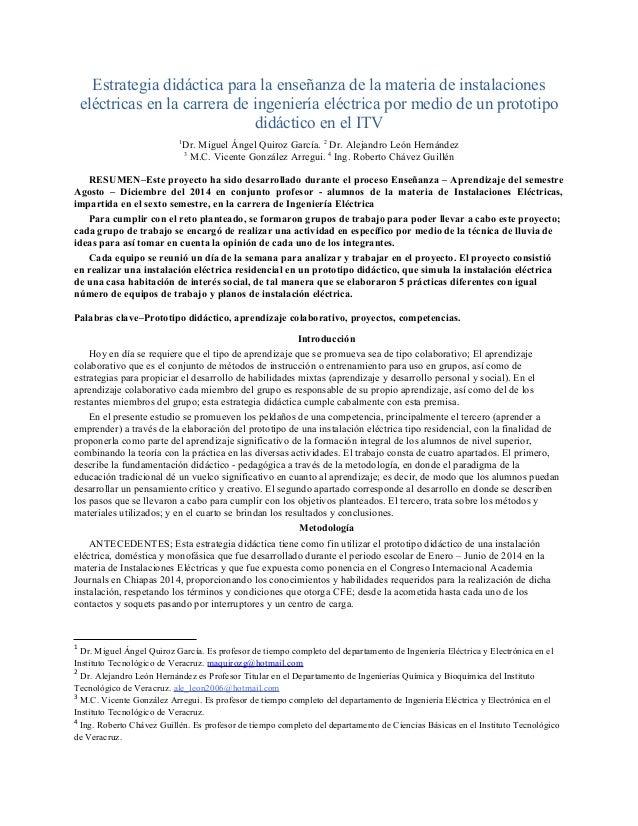 Estrategia didáctica para la enseñanza de la materia de instalaciones eléctricas en la carrera de ingeniería eléctrica por...