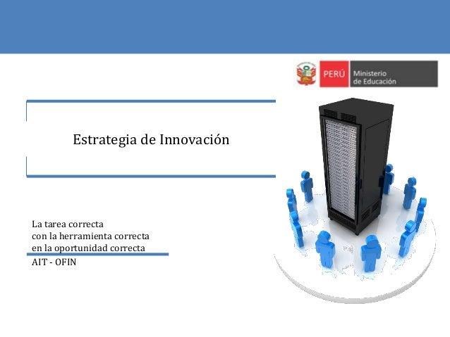 Estrategia de Innovación La tarea correcta con la herramienta correcta en la oportunidad correcta AIT - OFIN