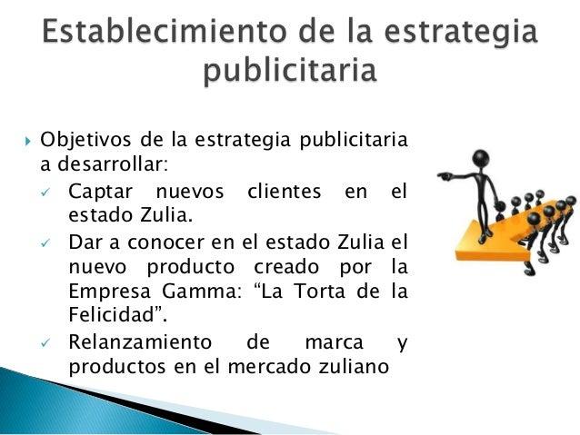    Objetivos de la estrategia publicitaria    a desarrollar:     Captar    nuevos clientes en el       estado Zulia.    ...