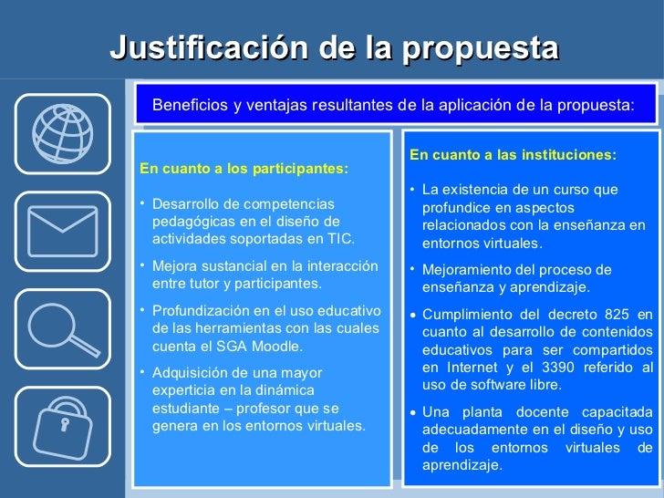 Justificación de la propuesta <ul><li>En cuanto a los participantes: </li></ul><ul><li>Desarrollo de competencias pedagógi...