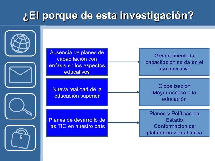 ¿El porque de esta investigación? Ausencia de planes de capacitación con énfasis en los aspectos educativos Nueva realidad...