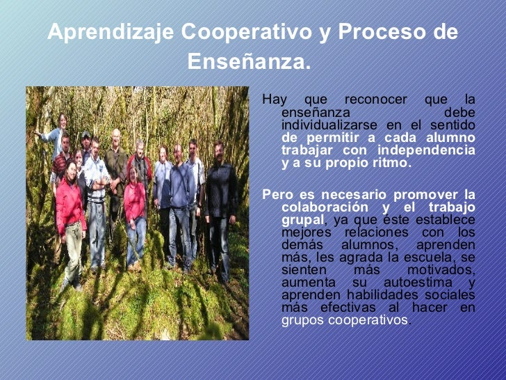Aprendizaje Cooperativo y Proceso de Enseñanza.   <ul><li>Hay que reconocer que la enseñanza debe individualizarse en el s...