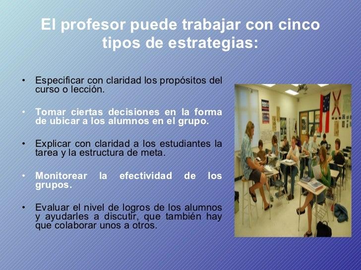 El profesor puede trabajar con cinco tipos de estrategias: <ul><li>Especificar con claridad los propósitos del curso o lec...
