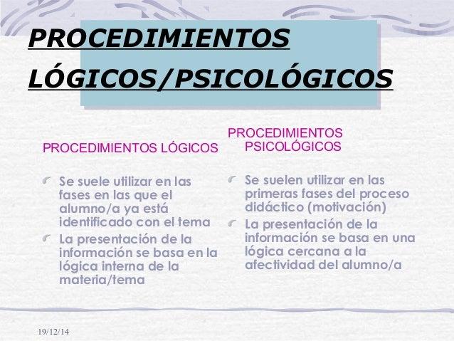 19/12/14 PROCEDIMIENTOS LÓGICOS/PSICOLÓGICOS PROCEDIMIENTOS LÓGICOS Se suele utilizar en las fases en las que el alumno/a ...
