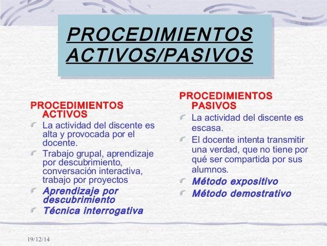 19/12/14 PROCEDIMIENTOS ACTIVOS/PASIVOS PROCEDIMIENTOS ACTIVOS La actividad del discente es alta y provocada por el docent...