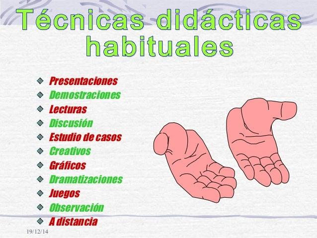 19/12/14 Presentaciones Demostraciones Lecturas Discusión Estudio de casos Creativos Gráficos Dramatizaciones Juegos Obser...