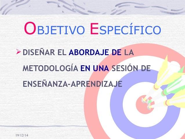 19/12/14 OBJETIVO ESPECÍFICO DISEÑAR EL ABORDAJE DE LA METODOLOGÍA EN UNA SESIÓN DE ENSEÑANZA-APRENDIZAJE