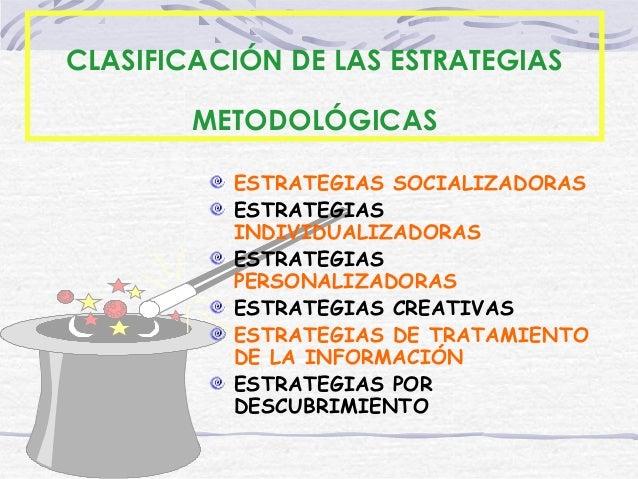 19/12/14 CLASIFICACIÓN DE LAS ESTRATEGIAS METODOLÓGICAS ESTRATEGIAS SOCIALIZADORAS ESTRATEGIAS INDIVIDUALIZADORAS ESTRATEG...