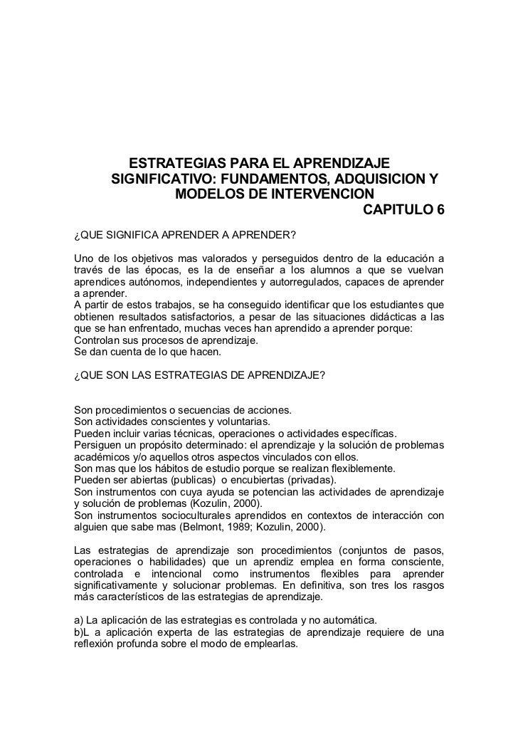 ESTRATEGIAS PARA EL APRENDIZAJE        SIGNIFICATIVO: FUNDAMENTOS, ADQUISICION Y                MODELOS DE INTERVENCION   ...