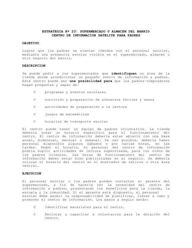 ESTRATEGIA Nº 23: SUPERMERCADO 0 ALMACEN DEL BARRIO                 CENTRO DE INFORMACION SATELITE PARA PADRESOBJETIVOLogr...