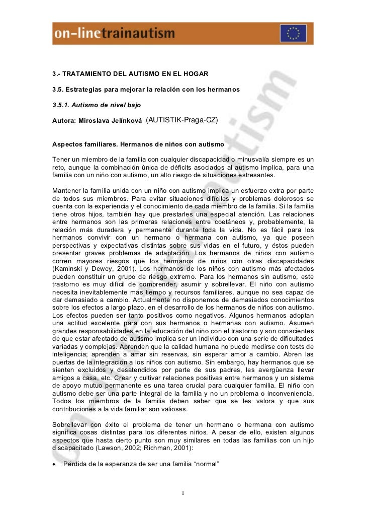 3.- TRATAMIENTO DEL AUTISMO EN EL HOGAR3.5. Estrategias para mejorar la relación con los hermanos3.5.1. Autismo de nivel b...