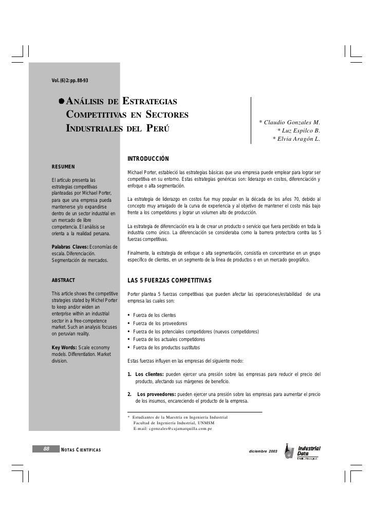 Vol. (6) 2: pp. 88-93             ANÁLISIS DE ESTRATEGIAS             COMPETITIVAS EN SECTORES                            ...
