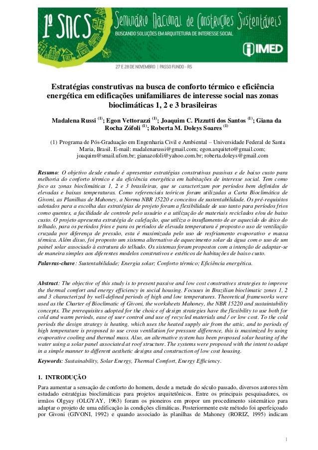 1 Estratégias construtivas na busca de conforto térmico e eficiência energética em edificações unifamiliares de interesse ...