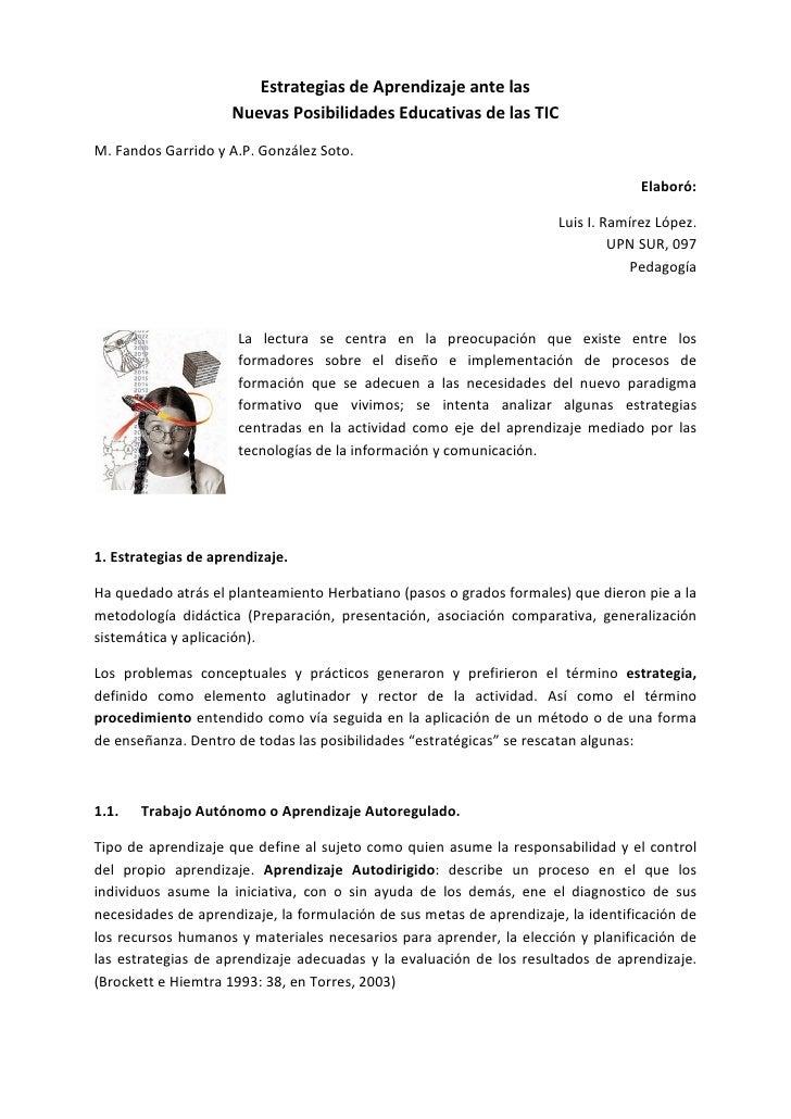 Estrategias de Aprendizaje ante las                      Nuevas Posibilidades Educativas de las TIC M. Fandos Garrido y A....