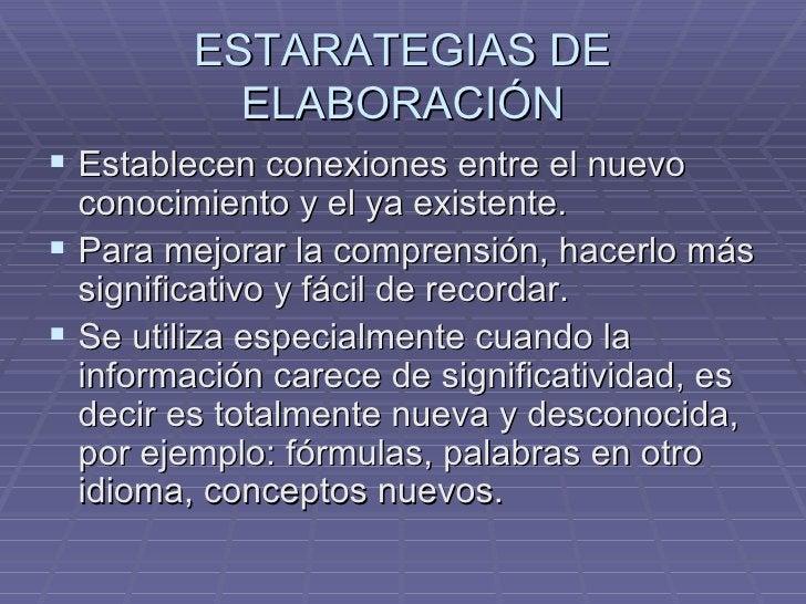 ESTARATEGIAS DE ELABORACIÓN <ul><li>Establecen conexiones entre el nuevo conocimiento y el ya existente. </li></ul><ul><li...
