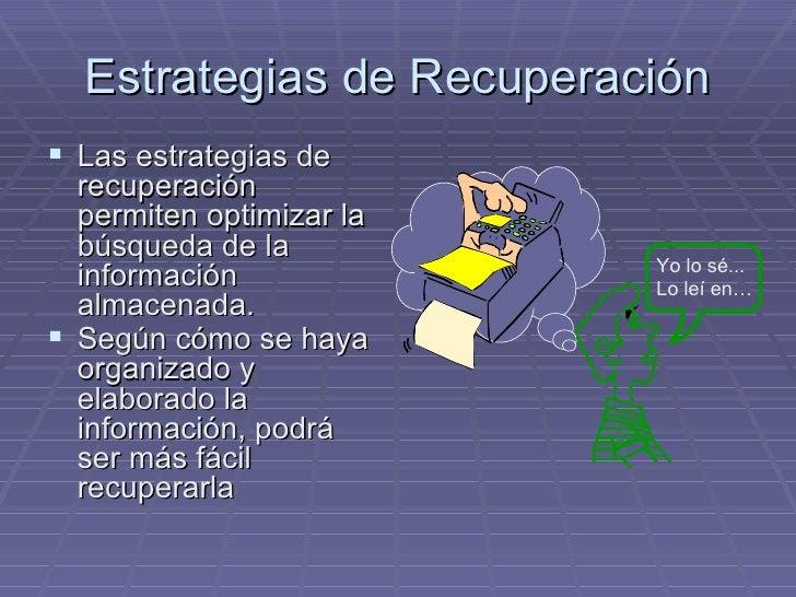 Estrategias de Recuperación <ul><li>Las estrategias de recuperación permiten optimizar la búsqueda de la información almac...