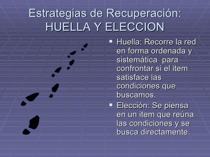 Estrategias de Recuperación: HUELLA Y ELECCION <ul><li>Huella: Recorre la red en forma ordenada y sistemática  para confro...