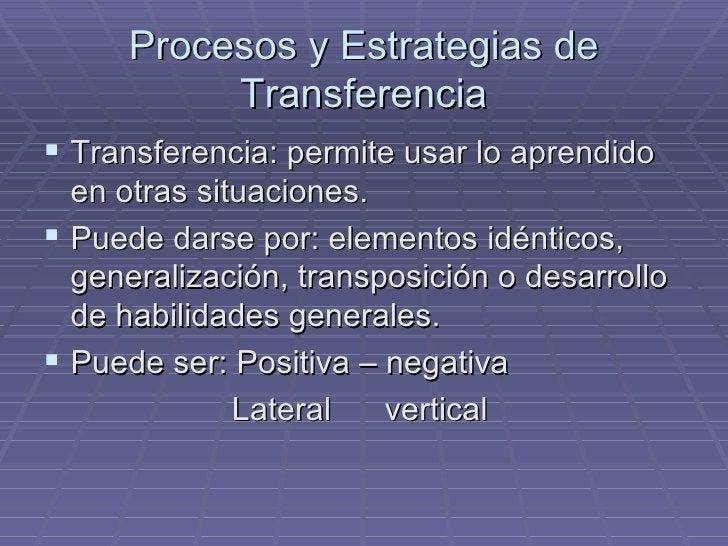Procesos y Estrategias de Transferencia <ul><li>Transferencia: permite usar lo aprendido en otras situaciones. </li></ul><...