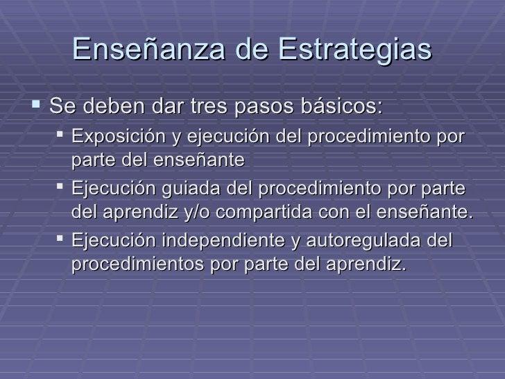 Enseñanza de Estrategias <ul><li>Se deben dar tres pasos básicos: </li></ul><ul><ul><li>Exposición y ejecución del procedi...