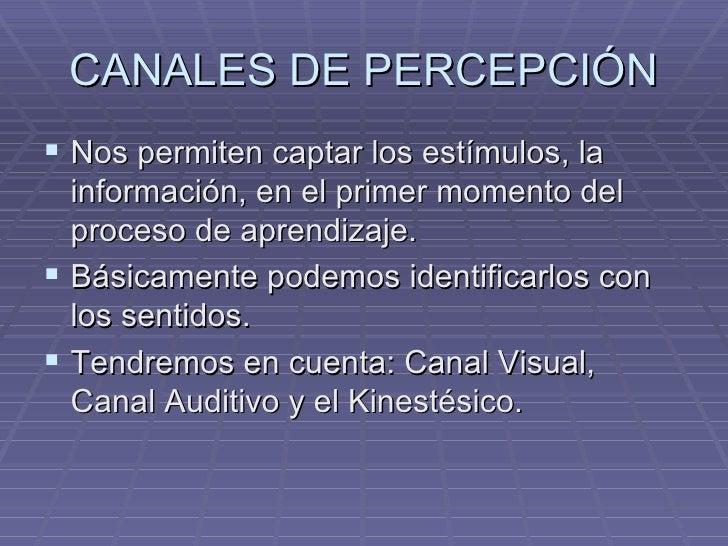 CANALES DE PERCEPCIÓN <ul><li>Nos permiten captar los estímulos, la información, en el primer momento del proceso de apren...