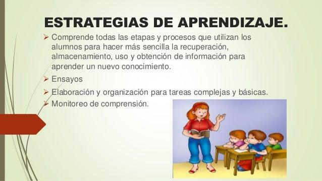 ESTRATEGIAS DE APRENDIZAJE.  Comprende todas las etapas y procesos que utilizan los alumnos para hacer más sencilla la re...