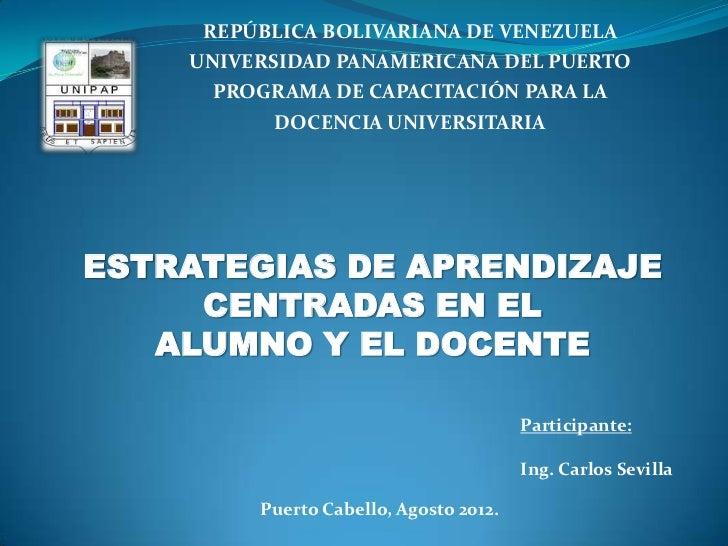 REPÚBLICA BOLIVARIANA DE VENEZUELA    UNIVERSIDAD PANAMERICANA DEL PUERTO      PROGRAMA DE CAPACITACIÓN PARA LA           ...