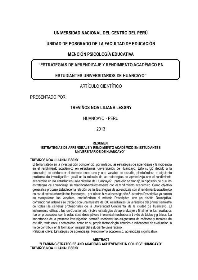 """UNIVERSIDAD NACIONAL DEL CENTRO DEL PERÚ UNIDAD DE POSGRADO DE LA FACULTAD DE EDUCACIÓN MENCIÓN PSICOLOGÍA EDUCATIVA """"ESTR..."""