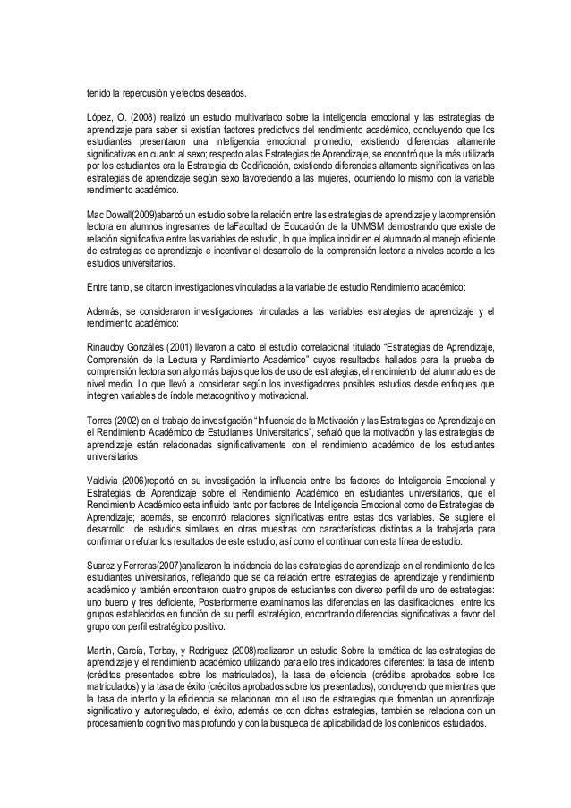 tenido la repercusión y efectos deseados. López, O. (2008) realizó un estudio multivariado sobre la inteligencia emocional...