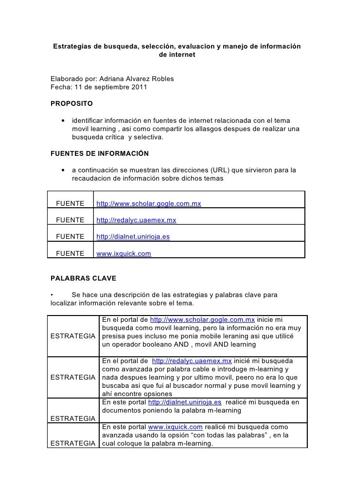 Estrategias de busqueda, selección, evaluacion y manejo de información                              de internetElaborado p...