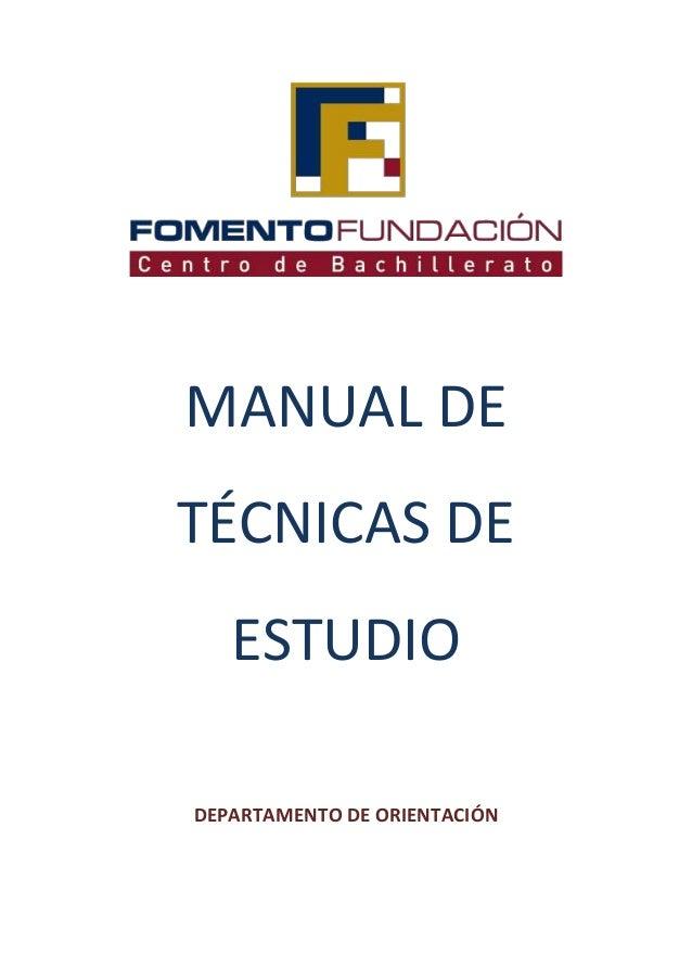MANUAL DETÉCNICAS DEESTUDIODEPARTAMENTO DE ORIENTACIÓN
