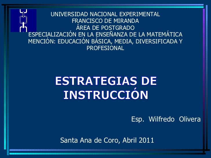 UNIVERSIDAD NACIONAL EXPERIMENTAL FRANCISCO DE MIRANDA ÁREA DE POSTGRADO ESPECIALIZACIÓN EN LA ENSEÑANZA DE LA MATEMÁTICA ...